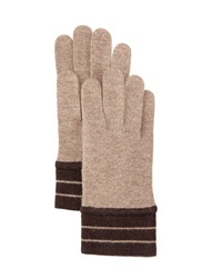 Portolano Minerva Striped Cuff Gloves Maroon Light Heather Gray