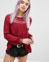 New Look Broderie Detail Smock Top Red