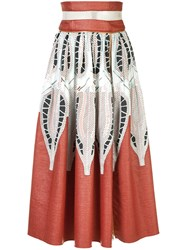 Sophie Theallet Printed A Line Skirt Women Cotton Polyamide 4 Metallic