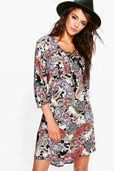 Maddie Paisley Long Sleeve Shirt Dress