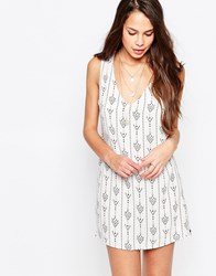Goldie Dream Team Shift Dress In Arrow Print Ivory White