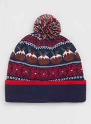 Topman Navy Christmas Pudding Beanie Multi