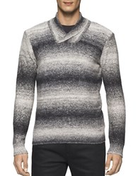 Calvin Klein Space Dye Cotton Blend Pullover Black White