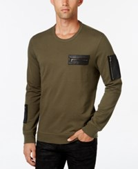 Inc International Concepts Men's Stencil Faux Leather Pocket Sweatshirt Only At Macy's Green Tea