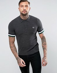 Fred Perry Slim Knitted Polo Stripe Cuff In Charcoal Marl Gray