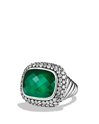 David Yurman Waverly Limited Edition Ring With Green Onyx And Gray Diamonds Silver Multi