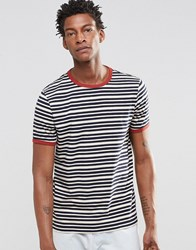 Asos T Shirt With Retro Stripe And Contrast Ringer Navy Ecru