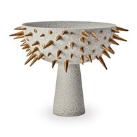 L'objet Celestial Bowl On Stand Grey And Gold Large