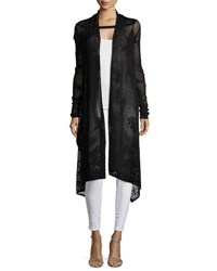 Republic Clothing Group Long Sleeve Knit Lace Waterfall Cardigan Black