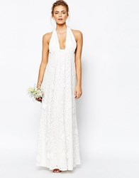 True Decadence Cutwork Lace Halterneck Full Prom Maxi Dress White