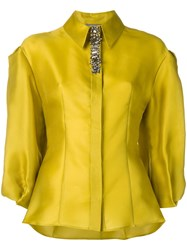Alberta Ferretti Crystal Detail Blouse Yellow And Orange