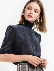 Pixie Market Navy Velvet High Collar Blouse