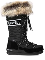 Moon Boot Monaco Nylon And Faux Leather Boots Black