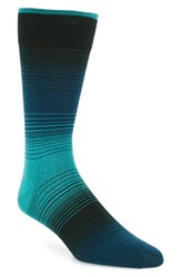 Bugatchi Men's 'Alternating Ombre' Stripe Socks Turquoise