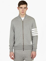 Thom Browne Cotton Jersey Striped Bomber Jacket Navy