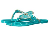 Jack Rogers Georgica Jelly Caribbean Blue Gold Women's Sandals Green