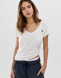 Abercrombie And Fitch Deep V Neck T Shirt White