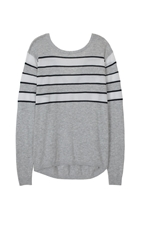 Tibi Nautical Stripe V Back Pullover
