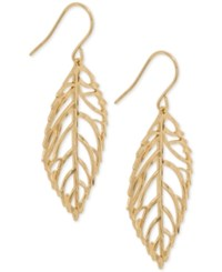 Giani Bernini 18K Gold Plated Sterling Silver Openwork Leaf Drop Earrings Only At Macy's