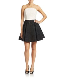 Abs By Allen Schwartz Jacquard Fit And Flare Dress Black Ivory