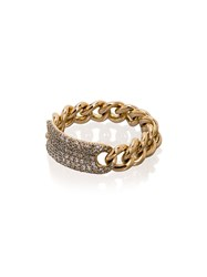 Shay 18K Yellow Gold Pave Diamond Link Ring Metallic
