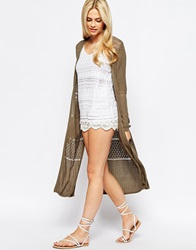 Oasis Longline Cardigan With Split Sides Khaki