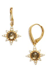 Nadri Women's Holiday Star Drop Earrings Smoky Quartz Pyrite Gold