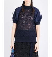 Sacai Striped Shell And Floral Lace Top Navy