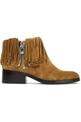 3.1 Phillip Lim Alexa Fringed Suede Ankle Boots Tan