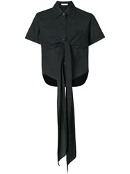 Tome Bow Tied Short Sleeve Blouse Black