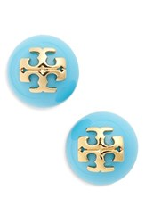 Tory Burch Women's Swarovski Crystal Pearl Logo Stud Earrings Turquoise Tory Gold
