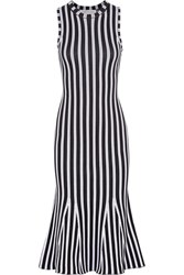 Victoria Beckham Fluted Ribbed Striped Cotton Blend Dress Midnight Blue