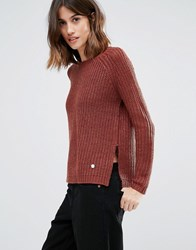 Only Chunky Knit Jumper With Back Zip Henna Red