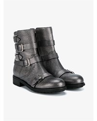 Jimmy Choo Dawson Flat Cracked Leather Biker Boots Anthracite Black Iris
