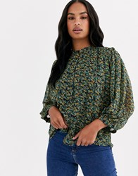 Y.A.S Chiffon Blouse With High Neck And Balloon Sleeves In Green Floral Black