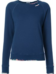 Mother Contrast Trim Sweatshirt Cotton Blue