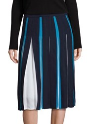 Diane Von Furstenberg Melita Silk Two Tone Skirt Deep Night Caribbean Blue Ivory