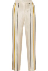 Rag And Bone Smith Striped Silk Twill Wide Leg Pants White