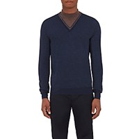 Orley Men's Virgin Wool Mock Turtleneck Sweater Navy