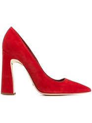 Sebastian Sculpted Block Heel Pumps Red