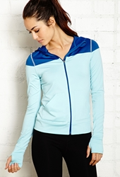 Forever 21 Colorblocked Warm Up Hoodie Baby Blue Navy