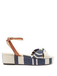 Castaner Angela Linen Flatform Sandals Blue Stripe