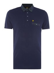 Lyle And Scott Short Sleeve Woven Check Polo Navy
