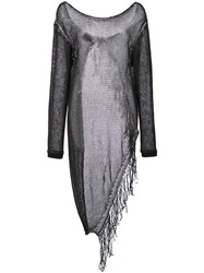 Lost And Found Ria Dunn Mesh Knit Fringe Pullover Black