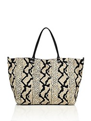 Valentino Snake Print Canvas And Leather Tote Tan