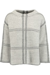 Iris And Ink Bella Checked Knitted Sweater Gray