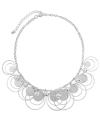 Styleandco. Style And Co. Necklace Silver Tone Paillette Sandblast Beaded Necklace