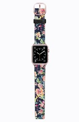 Casetify Saffiano Faux Leather Apple Watch Strap Blue Floral