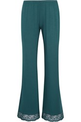 Eberjey Colette Lace Trimmed Stretch Modal Jersey Pajama Pants Dark Green