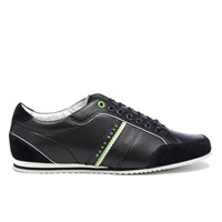 Hugo Boss Green Men's Victoire La Leather Trainers Charcoal Black